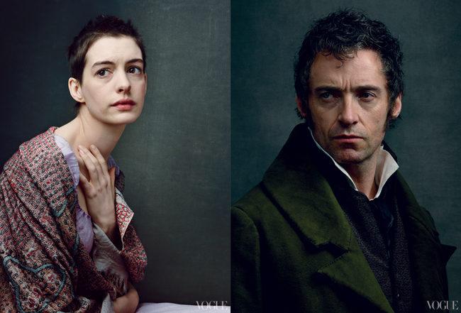 Anne Hathaway como Fantine; y Hugh Jackman como Jean Valjean
