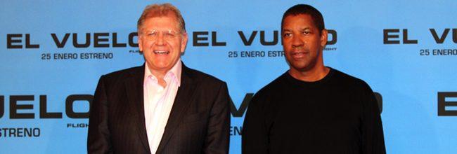 Robert Zemeckis y Denzel Washington en la presentación de El vuelo en Madrid
