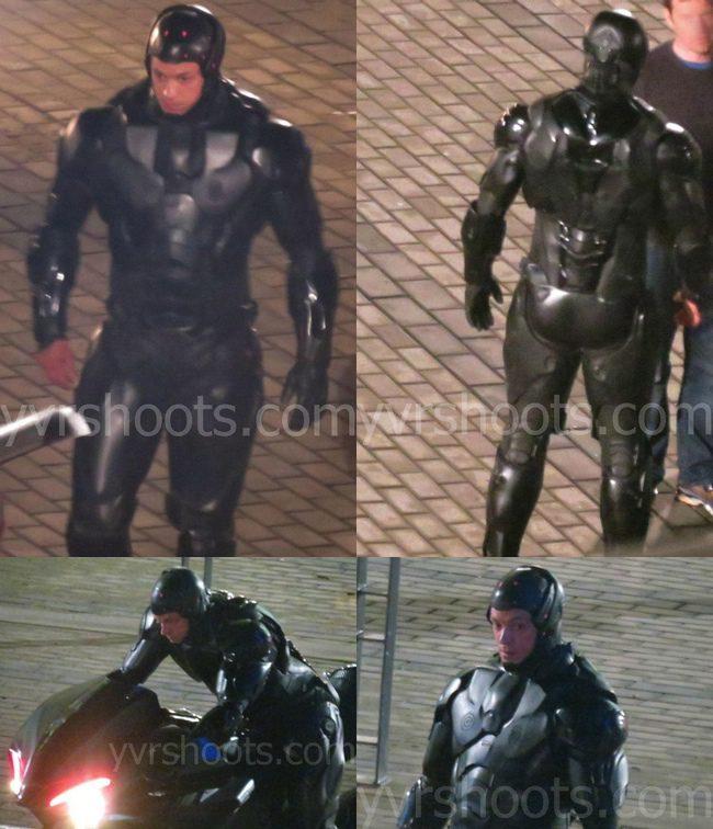 Joel Kinnaman en el rodaje de RoboCop