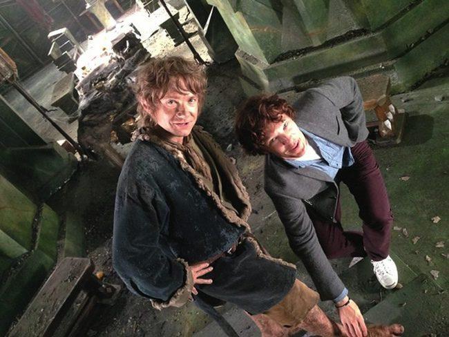 Martin Freeman y Benedict Cumberbatch en el rodaje de El Hobbit