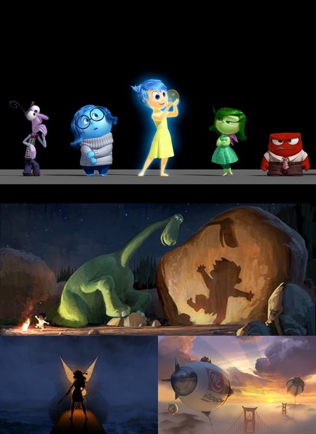 Inside Out, The Good Dinosaur, Big Hero 6 y Campanilla