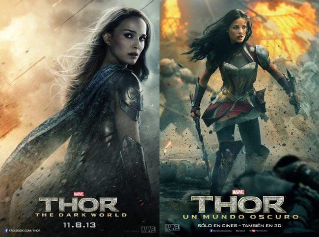 Natalie Portman y Jaimie Alexander en Thor: El mundo oscuro