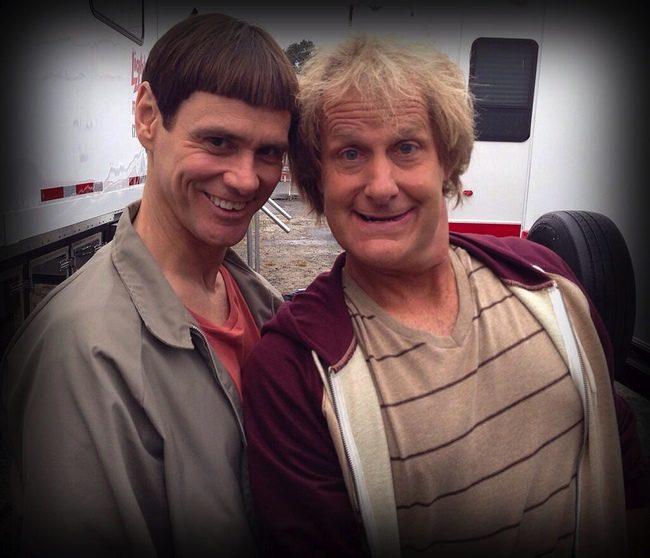 Jim Carrey y Jeff Daniels en el rodaje de 'Dos tontos muy tontos 2'