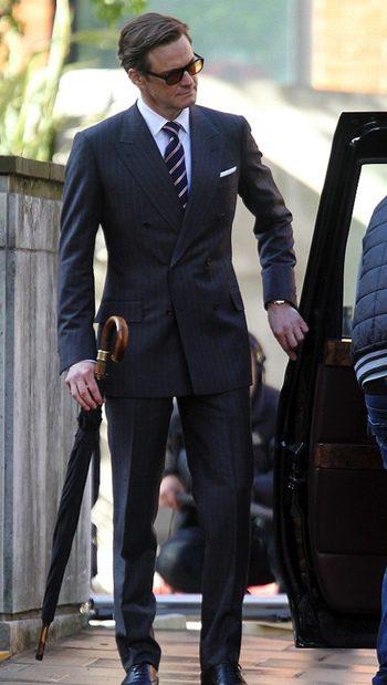 Colin Firth en el rodaje de The Secret Service