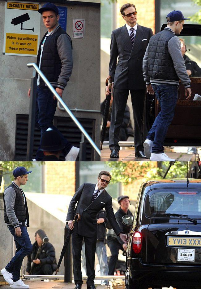 Taron Egerton y Colin Firth en el rodaje de The Secret Service