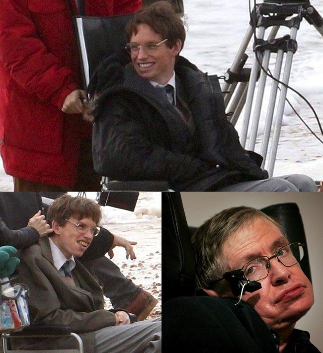 Eddie Redmayne en el rodaje de 'Theory of Everything' y Stephen Hawking