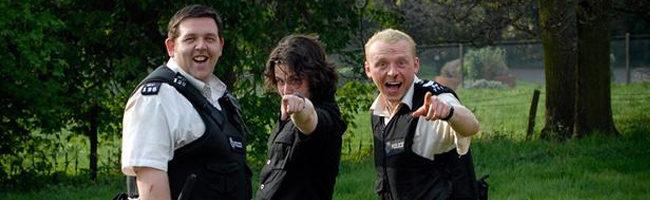 Nick Frost, Edgar Wright y Simon Pegg en el rodaje de 'Arma fatal'