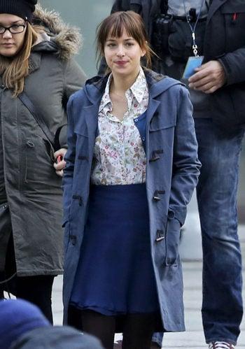 Dakota Johnson en el rodaje de Cincuenta Sombras de Grey