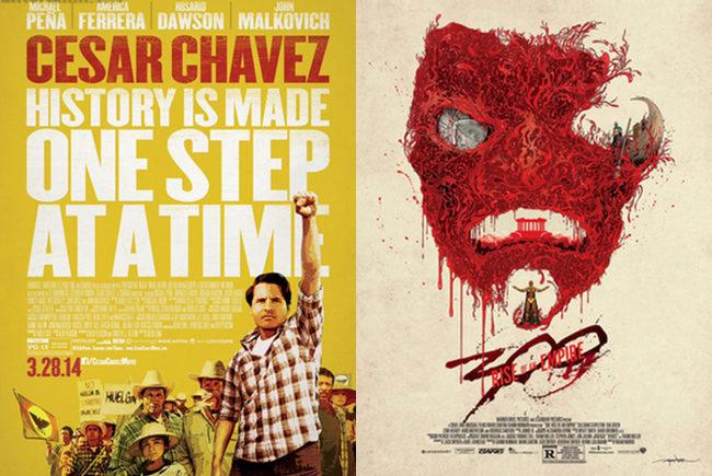 Póster 300: El origen de un Imperio y póster del biopic de César Chávez