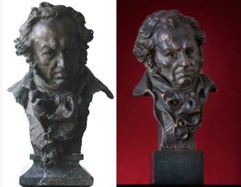 Busto de Goya por Mariano Benlliure y estatuilla de los premios Goya