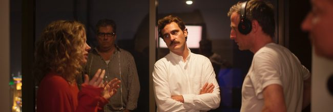 Amy Adams, Joaquin Phoenix y Spike Jonze en el rodaje de 'Her'