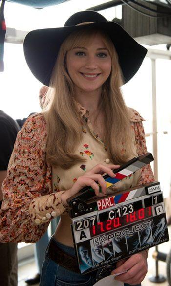 Jennifer Lawrence en el rodaje de X-Men: Días del futuro pasado