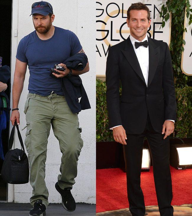 Bradley Cooper en mayo de 2014 y en los Globos de Oro, en enero de 2014