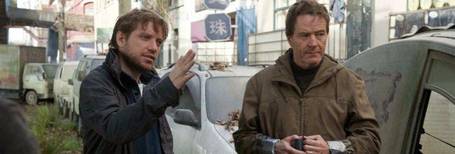 Gareth Edwards y Bryan Cranston en el rodaje de Godzilla