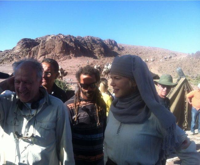 Werner Herzog y Nicole Kidman en el rodaje de Queen of the Desert