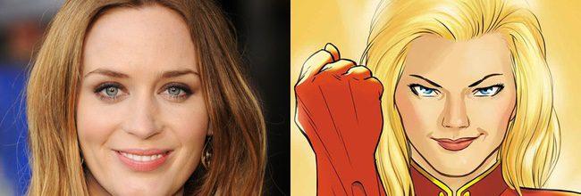 Emily Blunt y Captain Marvel