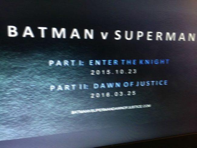Posible división de 'Batman v Superman'