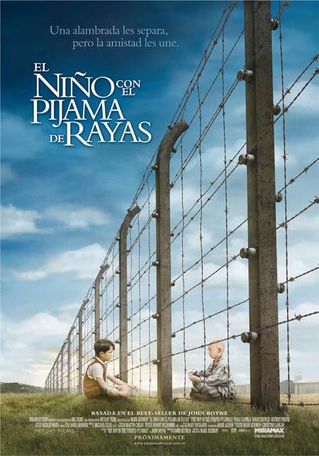 Cartel en español e imágenes de 'El niño con el pijama de rayas'