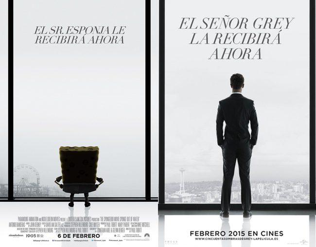 Bob Esponja imita el póster de 'Cincuenta sombras de Grey'