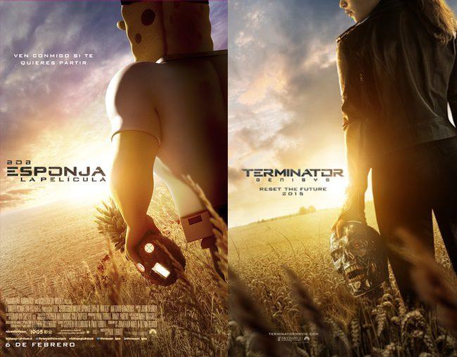 Bob Esponja imita el póster de 'Terminator Génesis'