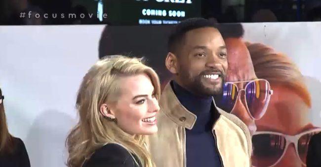 Will Smith y Margot Robbie en el evento fan de Focus en Londres