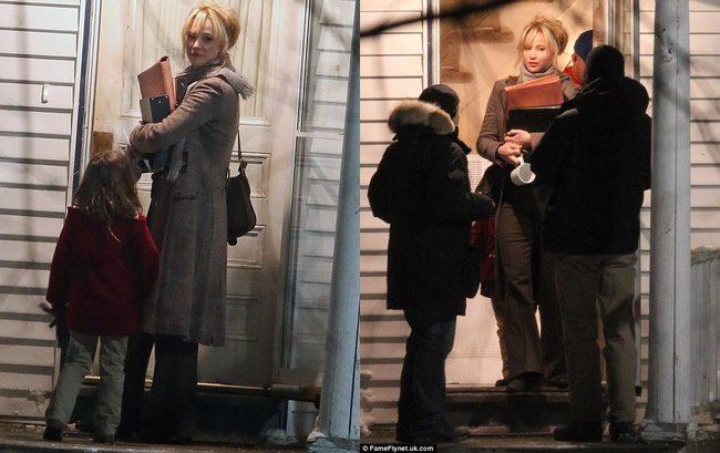 Jennifer Lawrence en el rodaje de Joy