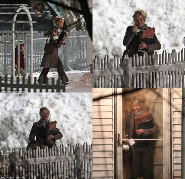 Jennifer Lawrence en el rodaje Joy