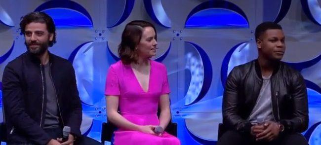 Oscar Isaac, Daisy Ridley y John Boyega en la Star Wars Celebration