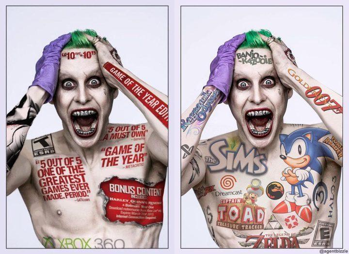 Imagen parodiando los tatuajes del Joker de Jared Leto