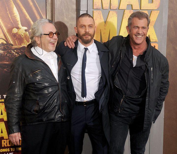 George Miller, Mel Gibson y Tom Hardy en la premiere de 'Mad Max: Furia en la carretera'