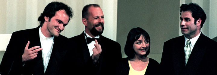 Quentin Tarantino recibiendo la Palma de Oro