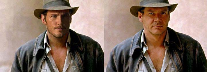 Chris Pratt y Harrison Ford como Indiana Jones