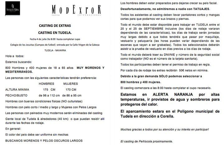 Convocatoria de casting de 'Juego de Tronos' en Peñíscola