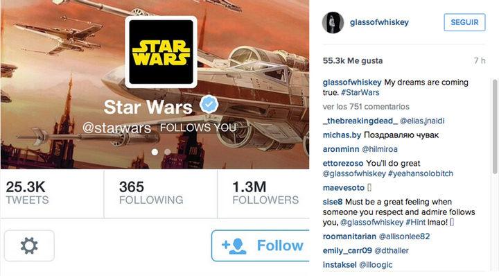 Captura de pantalla Instagram de Aaron Paul y Star Wars