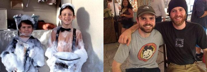 Travis Tedford y Bug Hall en 'Una pandilla de pillos' y foto de Twitter