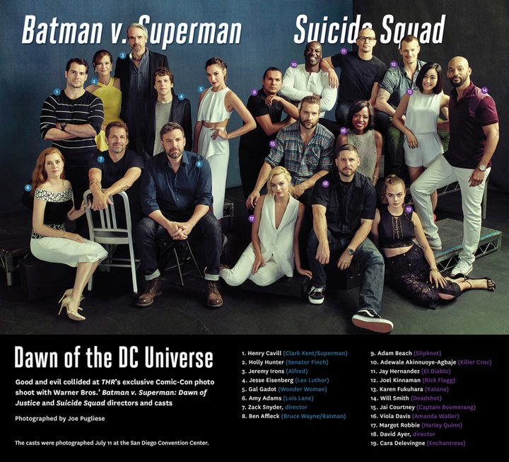 Universo compartido: los repartos de 'Batman v Superman' y de 'Escuadrón Suicida' posan juntos