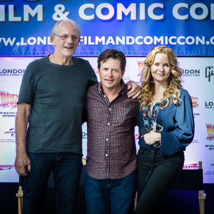 Christopher Lloyd, Michael J. Fox y Lea Thompson en Londres