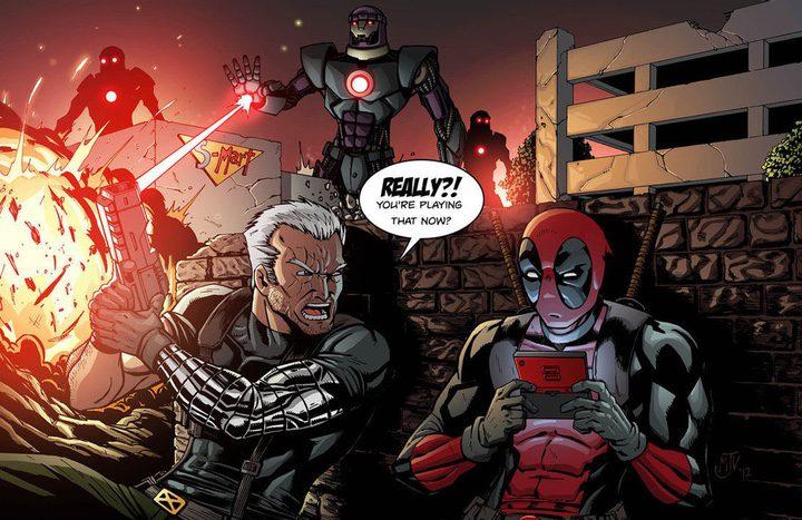 Deadpool y Cable en una viñeta de cómic