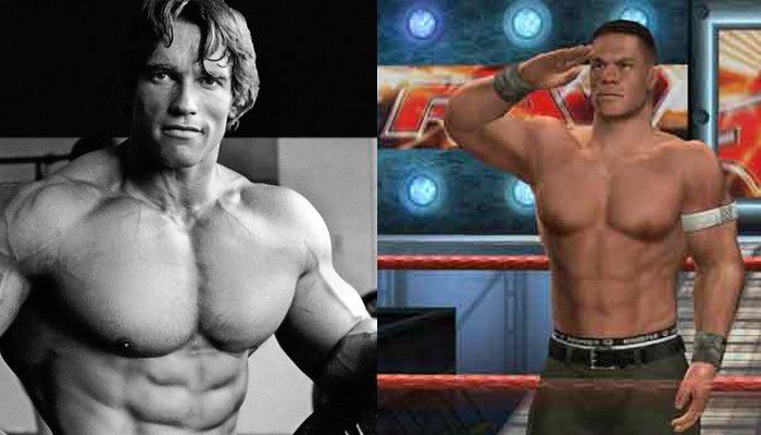 Schwarzenegger y uno de los jugadores del videojuego de la WWE