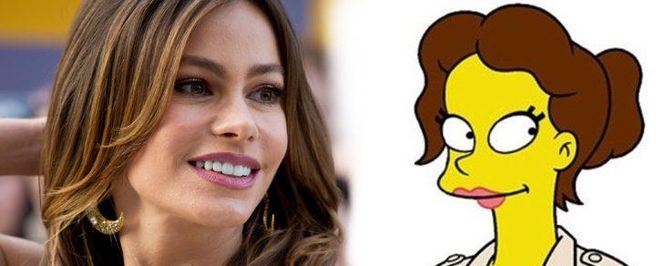 Sofía Vergara con su personaje en 'Los Simpson'