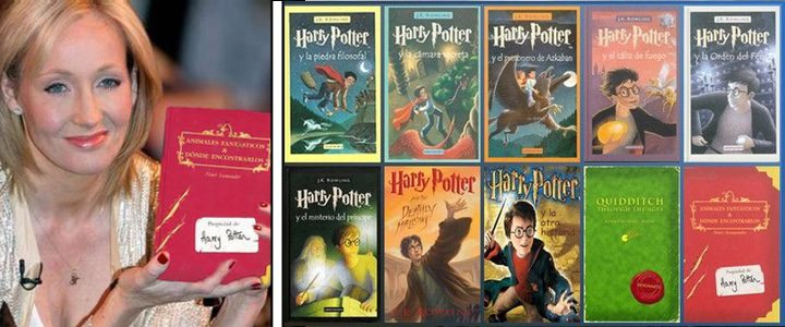 J.K. Rowling con todos sus libros