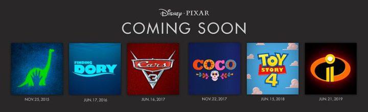 Calendario de estrenos Pixar