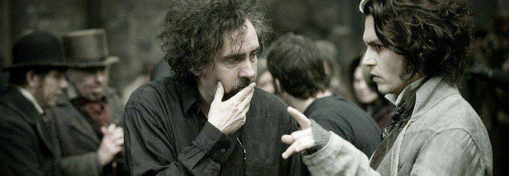 Tim Burton y Johnny Depp en pleno rodaje