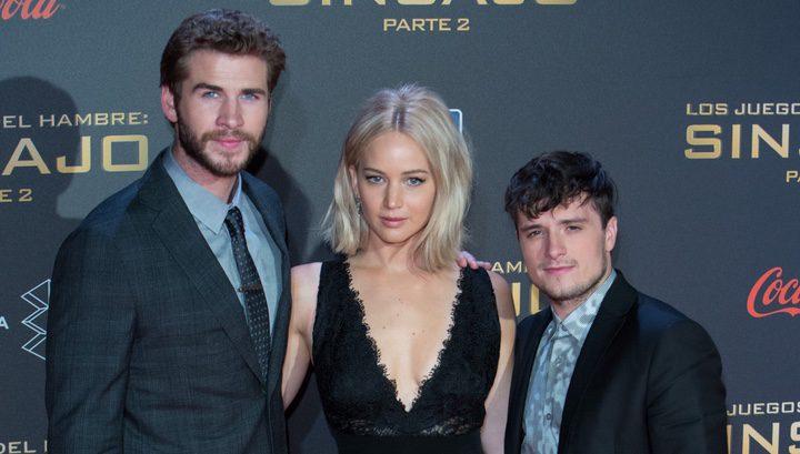 Liam Hemsworth, Josh Hutcherson y Jennifer Lawrence en Madrid