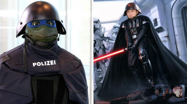 Policía alemana y 'Tortugas ninja' y Darth Vader