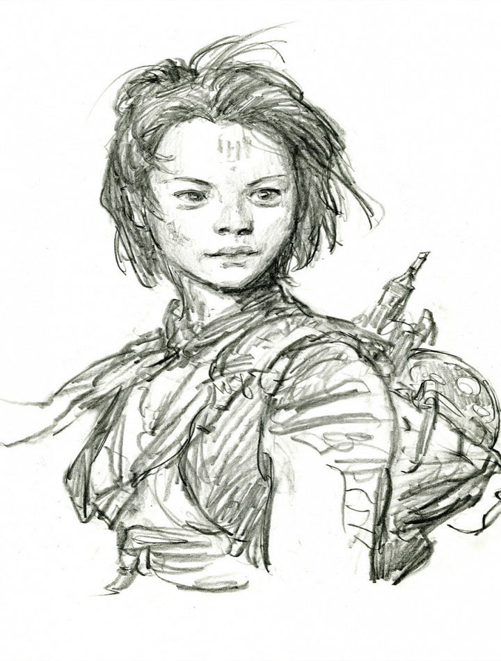 Boceto personaje Ray de 'Star Wars: El despertar de la fuerza'