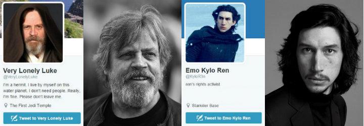 Cuentas de twitter de Skywalker y Kylo Ren
