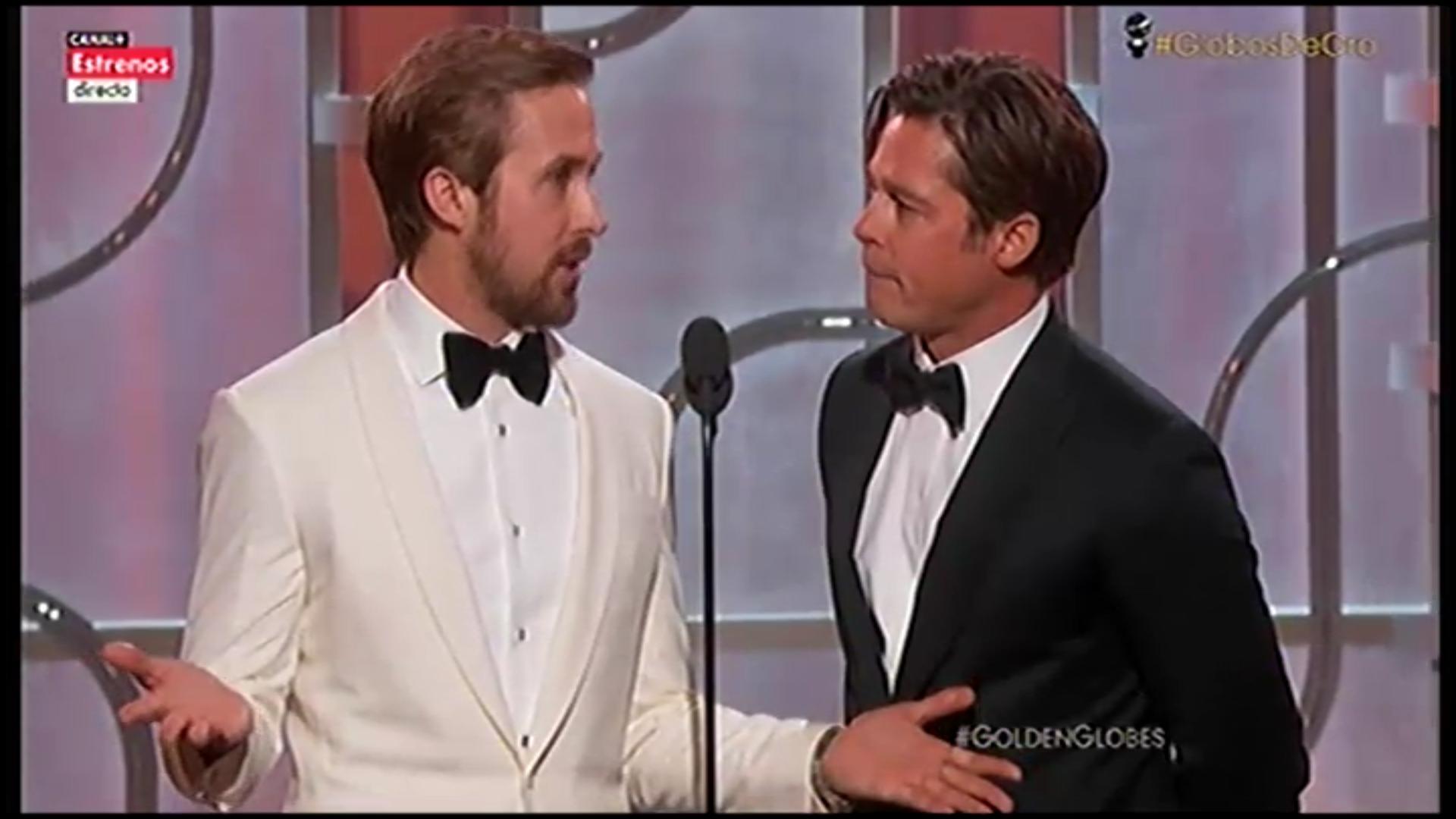 Los actores Ryan Gosling y Brad Pitt en el escenario