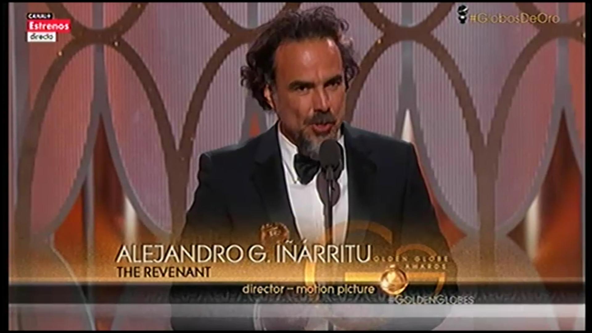 Iñárritu en el escenario recogiendo su Globo de Oro como director