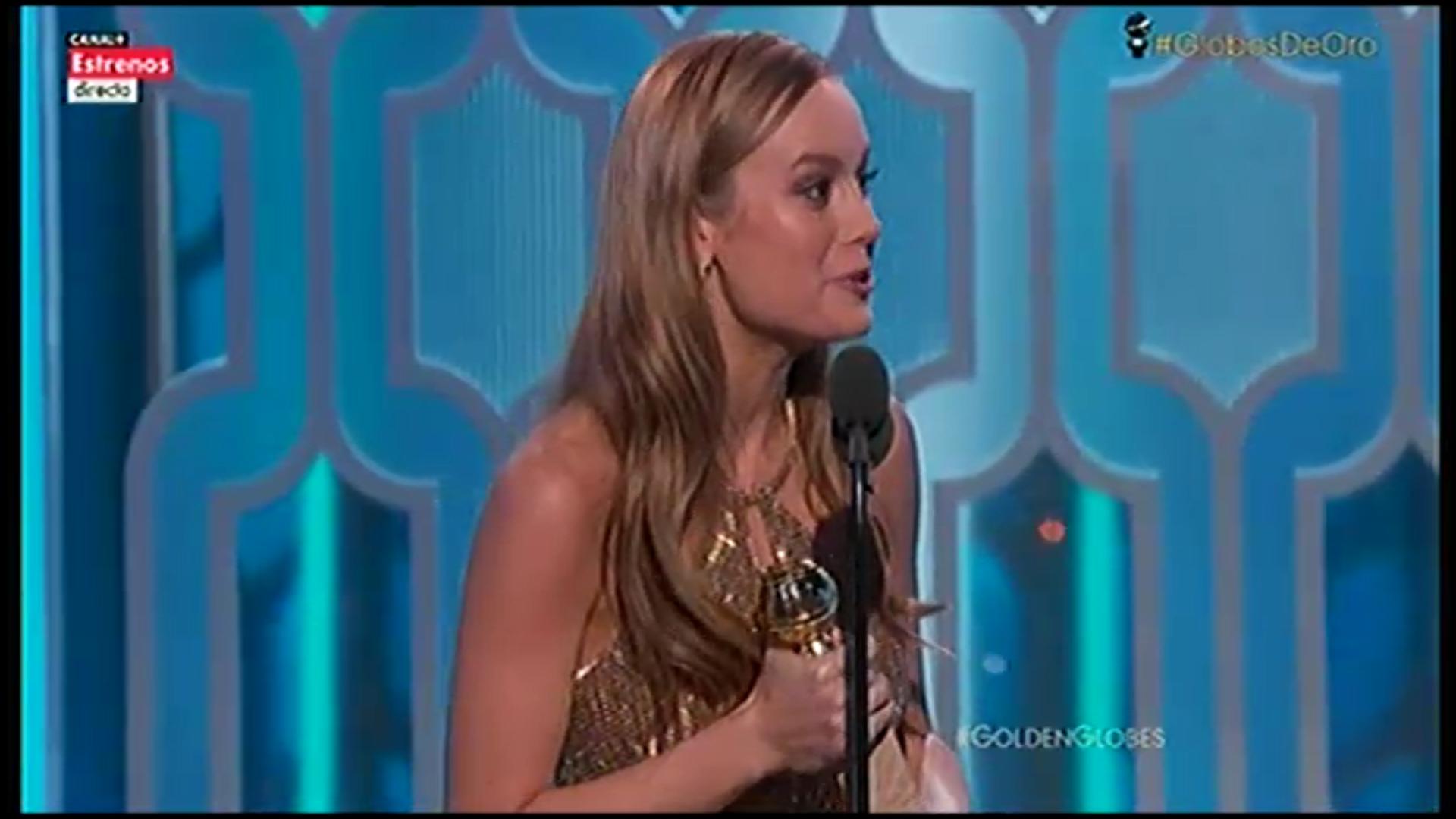 La actriz Brie Larson recoge el Globo de Oro por 'La habitación'